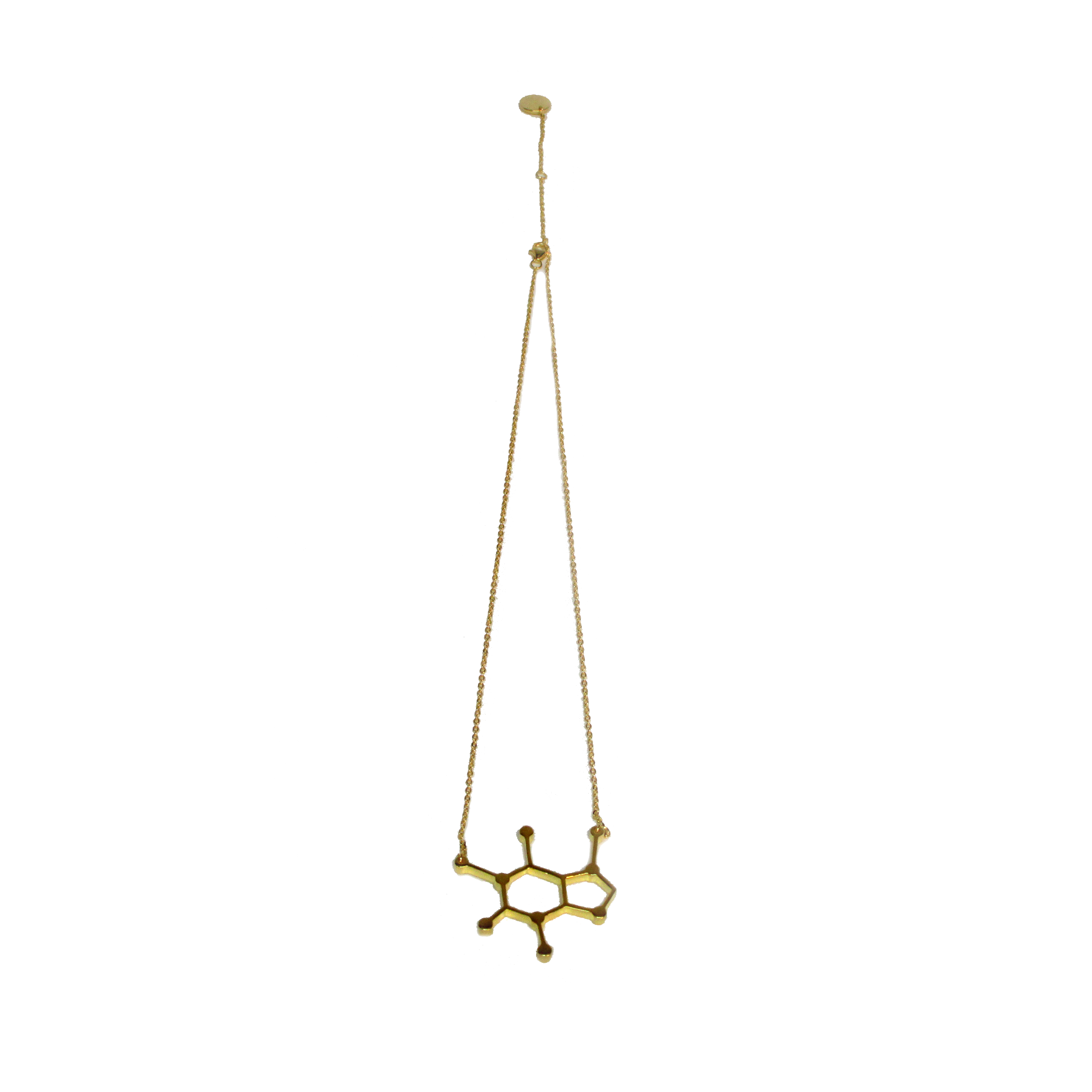 Starbucks gold plated caffeine molecule necklace