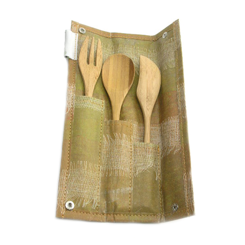 Bamboo utensils in fold pouch